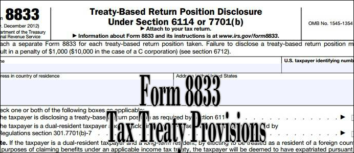 Irs Form 8833 And Tax Treaties How To Minimize Us Tax